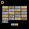 $1-$100 Dollar Bill EUA Conjunto Completo 21 pcs 24 k Ouro EUA Notas de Dólar do Ouro/ prata/Colorido Coleção com Cartão de Ouro/Prata