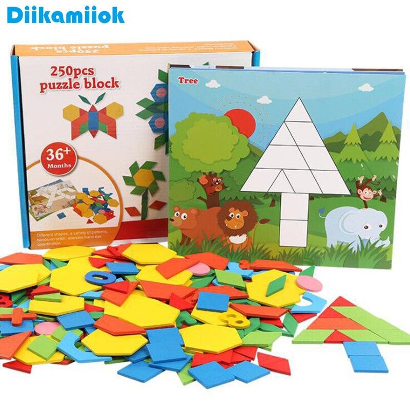 250 pçs de madeira geométrica placa inteligente quebra-cabeça 3d tangram jigsaw board brinquedo do bebê aprendizagem precoce brinquedos para crianças jogo