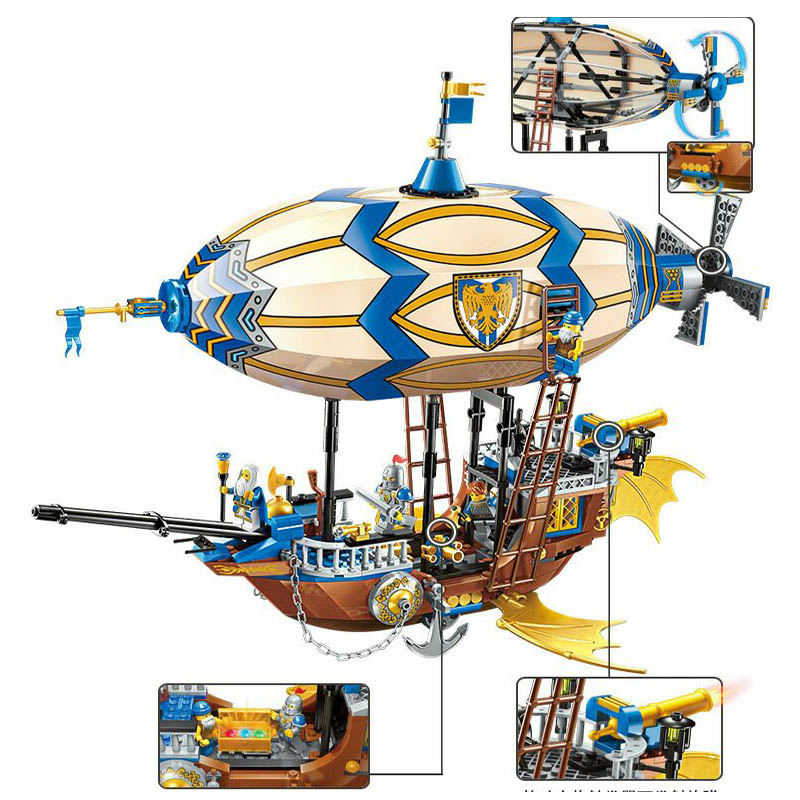 Building Block War of Glory Castle Knights Sliver Hawk Balloon Ship 5 Figures 669pcs Educational Bricks Toy Boy Gift Legoe enlighten 2314 war of glory castle knights shop model building block 368pcs educational toys for children compatible legoe