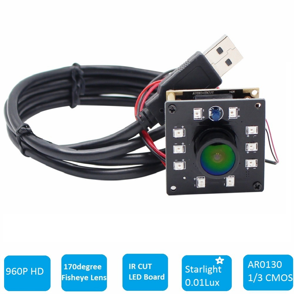 960P Wide Angle 170degree fisheye lens CCTV HD Micro Low light Mini Webcam Infrared Night Vision  IR CUT USB 2.0 Camera Board