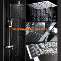 Bathroom shower10 inch air pressurize rainfall shower head and thermostatic mixer automatic thermostatic faucet shower set