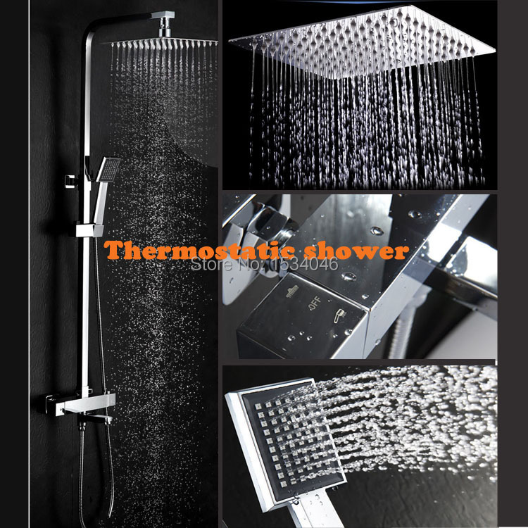 Salle de bains shower10 pouces air pression pomme de douche et mitigeur thermostatique automatique robinet thermostatique ensemble de douche
