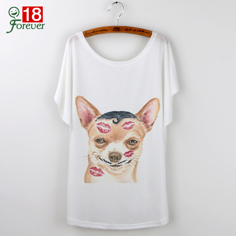 Hot Sale 3d T Shirt Women Tops Tee Dog Printed Lips Short Sls