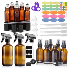 14 Pack Empty Brown Glass Spray Bottle w/ 6-10ml Roll on 6-60ml & 2-500ml Sprayer for Essential oil Cleaning Amber