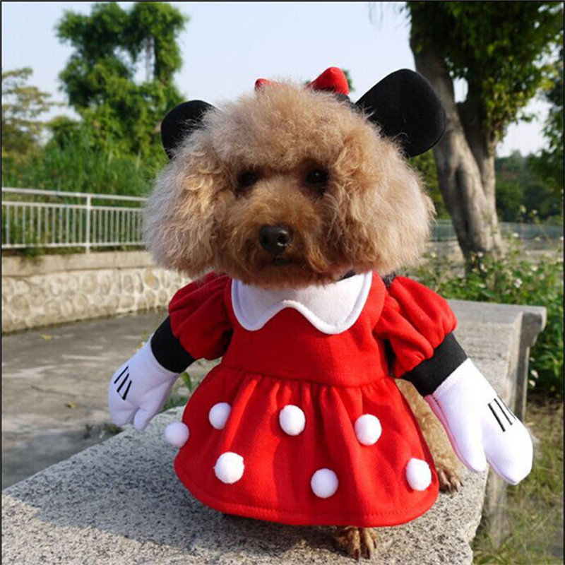 NACOCO Pet Dog Minnie Mouse Hooded Coat Jumpsuit Dog Costume For Dogs Outfit Knight Style Fancy Dress Costume