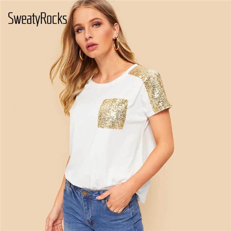 SweatyRocks Contrast Sequins Pocket Tee Streetwear Short Sleeve Leisure Clothes 2019 Summer Casual Women White Basic T-Shirts