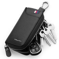 WILLIAMPOLO Brand wallet men Genuine Leather Key Wallets Men Women Car Key Holder Organizer Wallet Casual Keychain Zipper Key Ri