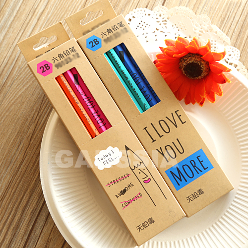 """12pcs/lot Novelty color Wooden Pencil Length: 7"""" Simple style 2B Standard Pencils School Stationery kids supplies (ss-1432)"""