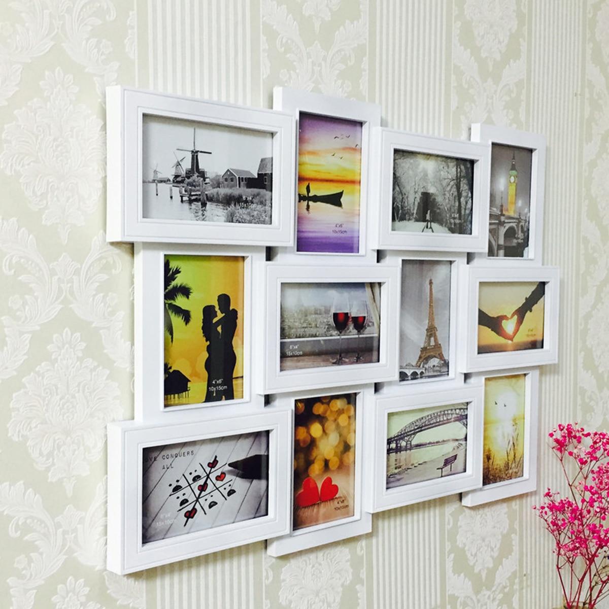 12 pièces/ensemble cadre Photo en plastique Photo murale multi-images cadre Collage cadre suspendu décoration murale cadre Photo décor à la maison
