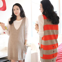 Spring/Autumn Pregnancy Women's Two Piece Suit Maternity Basic Shirt+Knitted Vest Sweaters Clothing Set
