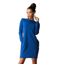 2017 Solid Loose Casual Bodycon Autumn Dress Women's O neck Long Sleeve Office Dress Two Pockets Work Wear Plus Size