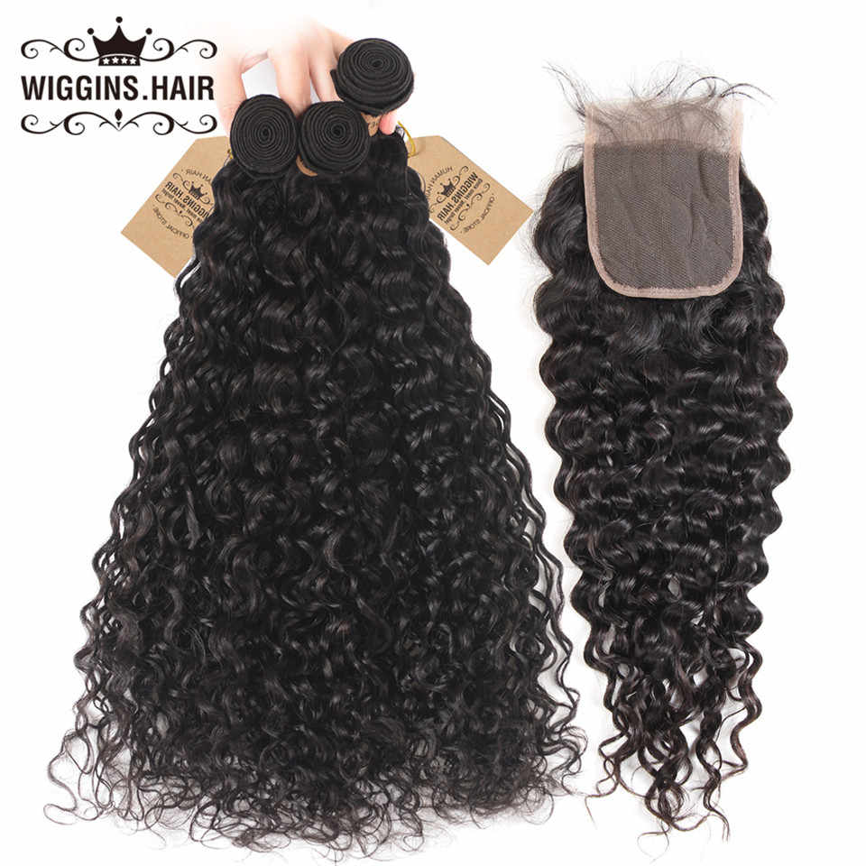 3 Bundles With Closure Natural Wave Wiggins Remy Human Hair Bundles With Closure Peruvian Hair Bundles With Closure 4x4 Lace
