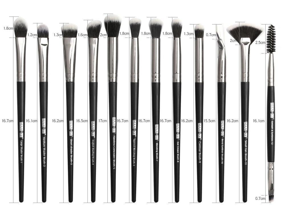 Conjunto de pincéis profissional 12 pçs para de maquiagem