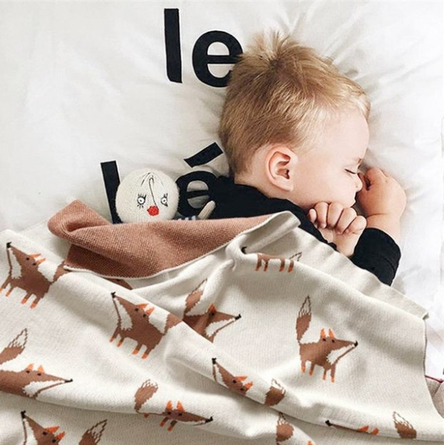 New Baby Blanket Children's FoxCotton Knitted Animal Super Soft Blanket Newborn Baby Blanket Swaddling