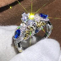 Size6 10 New Arrival Sparkling Fashion Jewelry 925 Sterling Silver Filled Marquise White&Blue CZ Party Vintage Wedding Band Ring