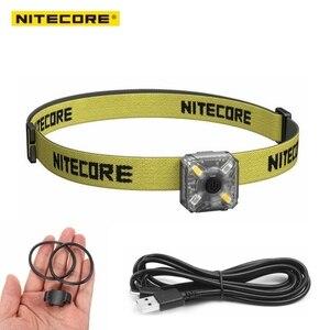 Image 2 - Linterna frontal NITECORE, recargable por USB, NU05, KIT de 35 lúmenes, luz blanca/roja, alto rendimiento, 4 leds, ligero, portátil