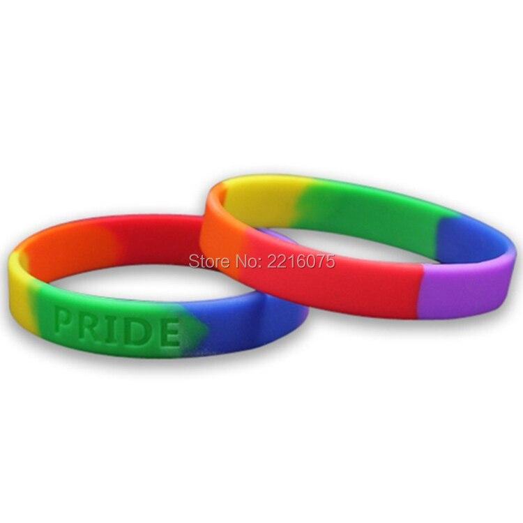 300 pz Debossed Arcobaleno Gay Pride wristband del silicone braccialetti di gomma trasporto libero da DHL espresso-in Bracciali alla schiava da Gioielli e accessori su  Gruppo 1