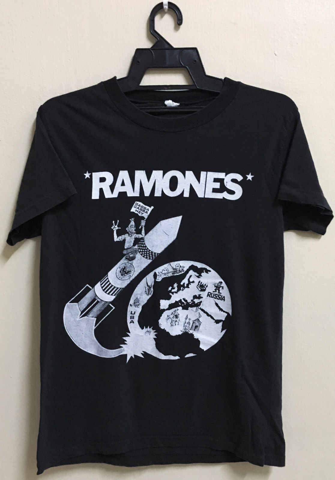 8883425a Vintage 80S Ramones Rocket To Russia Punk Rock Tour Concert Promo T Shirt  Stranger Things Design