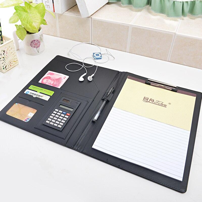 aliexpresscom buy a4 multifunction multifunctional busine padfolio leather portfolio clipboard document pen holder file folder management notebook from