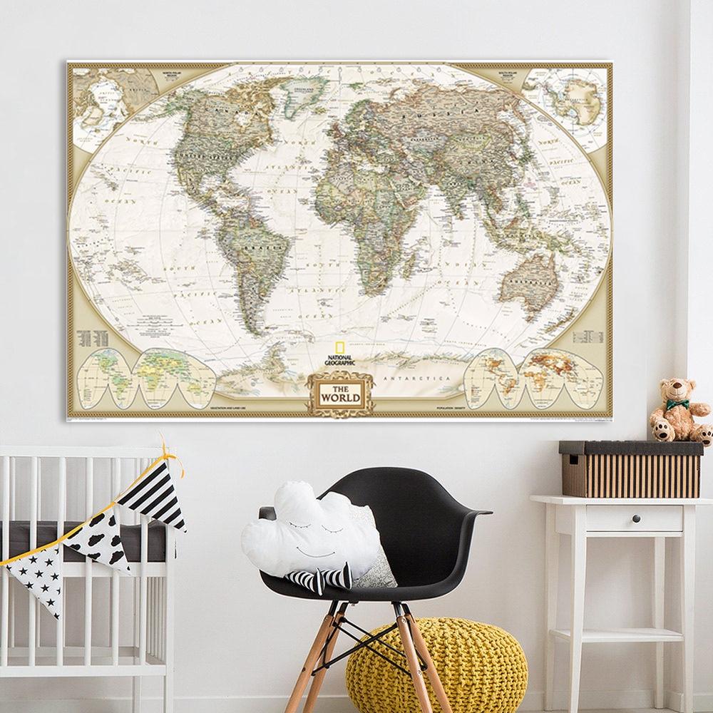 Political World Map Poster Miller Projection Black Framed Ready To Hang Frame