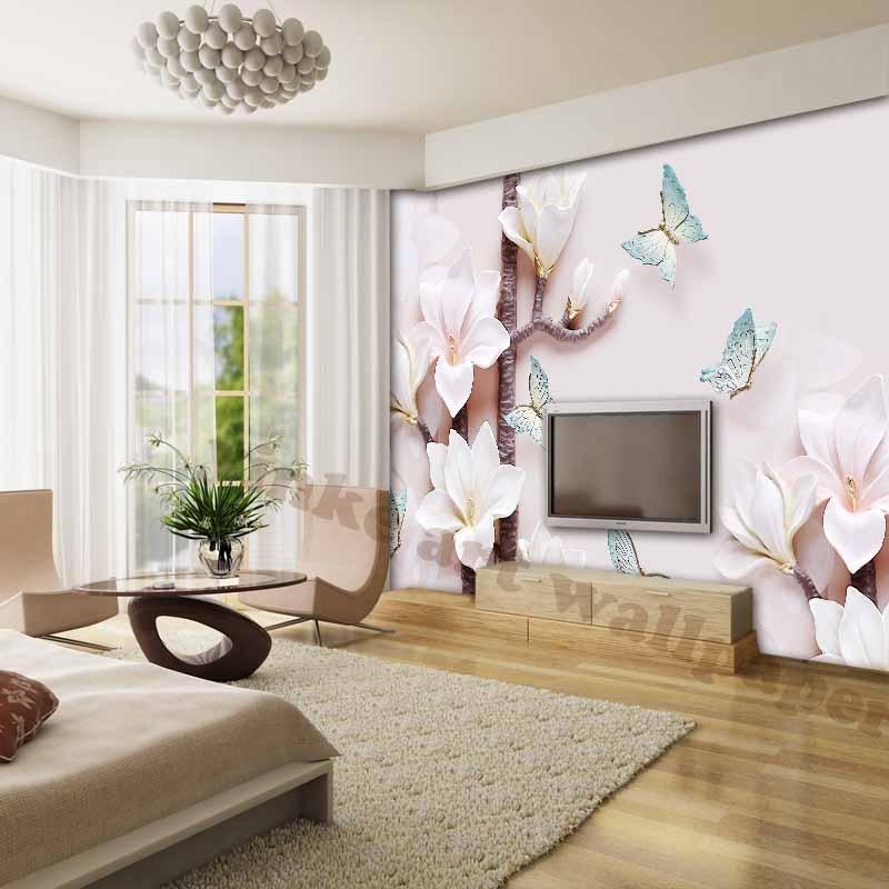 Buy elegant 3d wallpapers for living room waterproof tv background photo for Flower wallpaper for living room