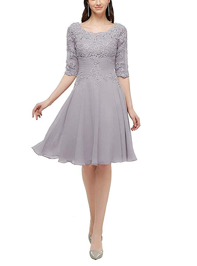 Knee Length Mother Of The Bride Dresses With Half Sleeves Lace Applique Formal Wedding Mother Dress
