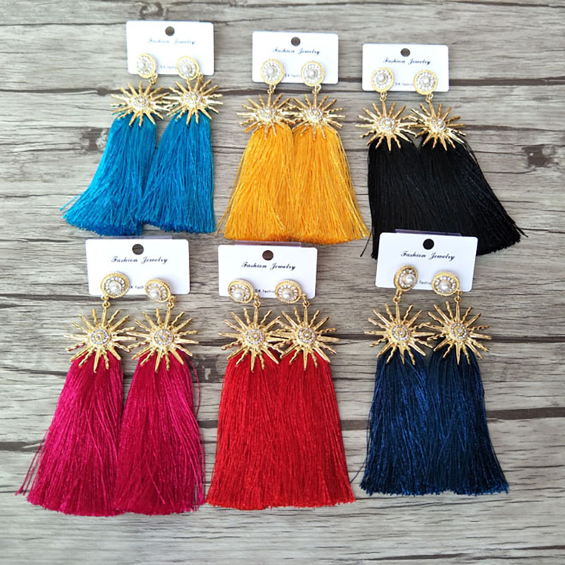 6 Pairs Wholesale long Cotton tassel Dangle earring pave pearl charm earring fashion Handmade Soft Bohemia Women jewelry ER621