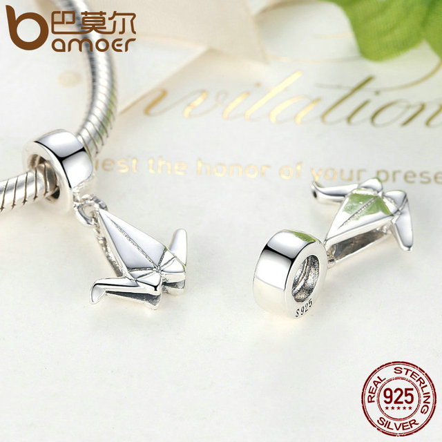 Sterling Silver Paper Origami Cranes Bird Charm