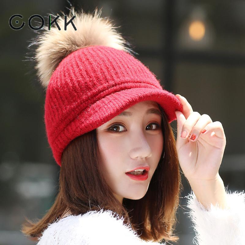 COKK Pompom Hat Female Winter Hats For Women Knitted Cap Thick Warm Baseball Cap Snapback Real Fur Hat Casual Gorras Bone 2017 new autumn winter warm children fur hat women parent child real raccoon hat with two tails mongolia fur hat cute round hat cap