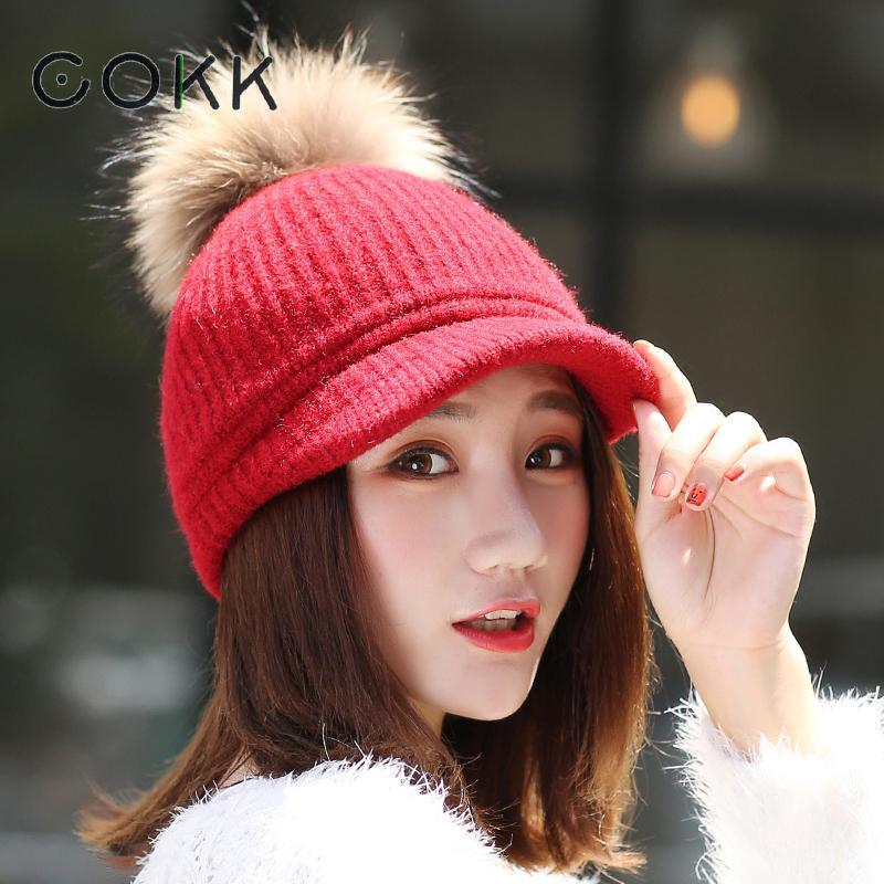COKK Pompom Hat Female Winter H