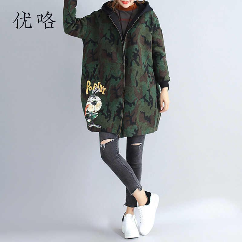 04ef5b35 2018 Winter Fashion Camouflage Woolen Coat Women Long Sleeve Kawaii Plus  Size Cartoon Printed Jacket Loose