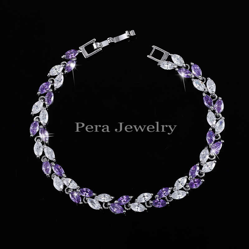 Pera CZ 7 Color Options White Gold Color High Quality Multicolored Crystal Stone Women Fashion Bracelets & Bangles For Gift B006