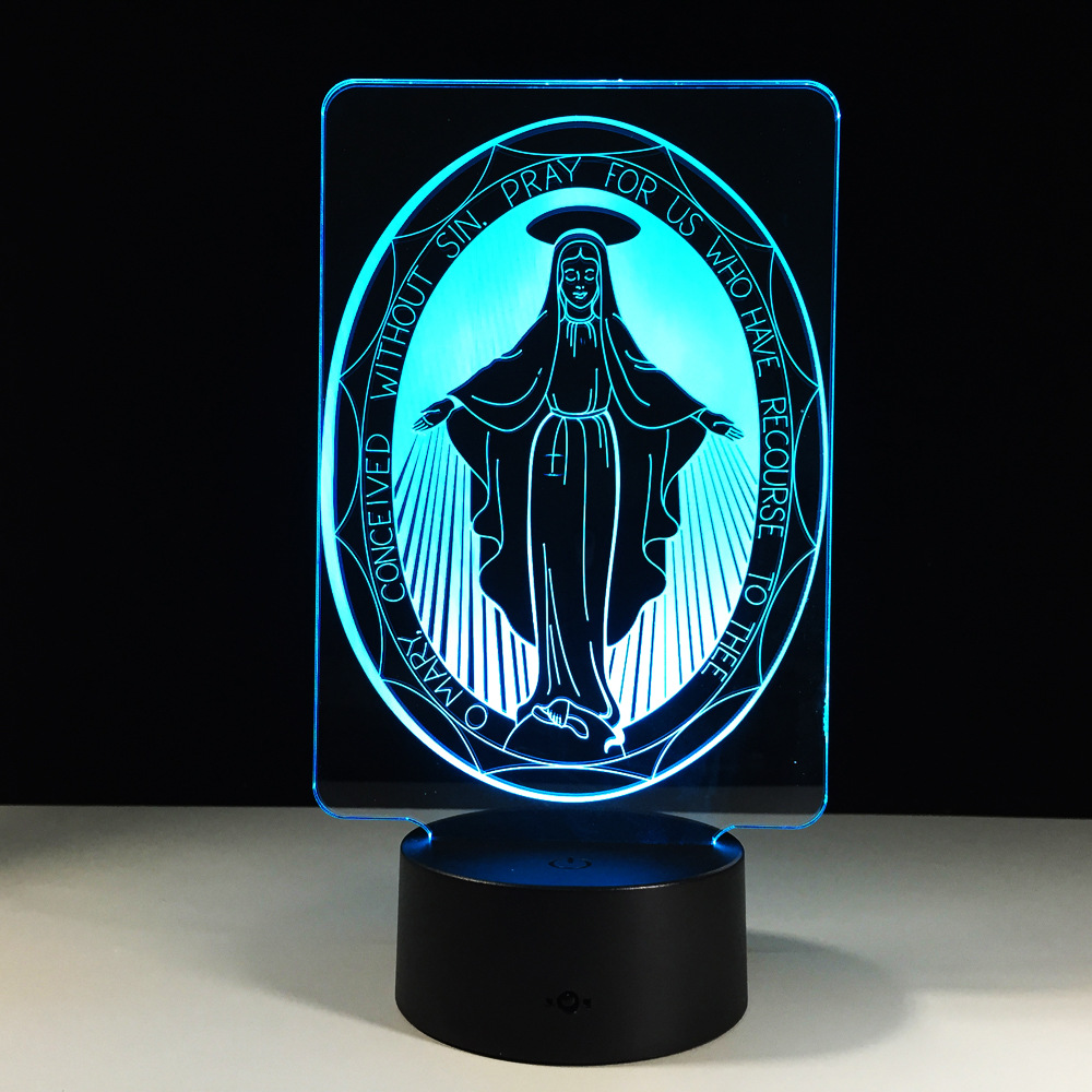 The Virgin Mary 3D LED Lamp 7 Color Change 3D Night Light Home Decoration Lights Colorful Holiday Gifts