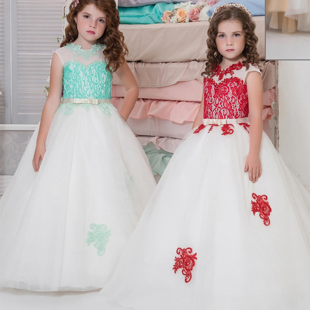 New Arrival Little Girls Luxury Lace Appliques Holy Pageant Dresses For Wedding Floor Length Floor Girls First Communion Dress stunning elegant lace appliques half sleeves ruffles floor length heirloom white holy communion kids dresses 0 12 y girls gowns