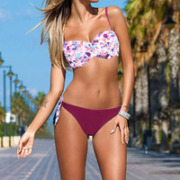 Women S Bandeau Push Up Floral Beach Wear Swimwear Maillot De Bain Push Up Bikini 2016