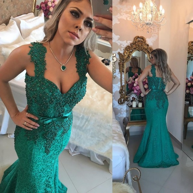 c6b048a076817 Dark Green Lace Mermaid Evening Dresses 2018 Sweetheart Beaded Applique  Wide Straps Long Formal Prom Dress Evening Gowns