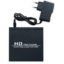 Full HD 1080P SCART HDMI To Converter Adapter Upscaler Video Audio for Sky Sky+/ DVD Player /Set-top Box EU Plug
