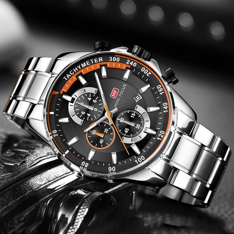 MINI FOCUS Men's Business Dress Watches Stainless Steel Luxury Waterproof Chronograph Quartz Wrist Watch Man Silver 0218G.03|Quartz Watches| |  - title=