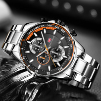 MINI FOCUS Men's Business Dress Watches Stainless Steel Luxury Waterproof Chronograph Quartz Wrist Watch Man Silver 0218G.03