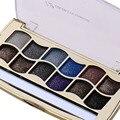 12 cores/set diamante brilhante colorido Makeup Palette Sombra Em Pó fácil de Usar Cosméticos Glitter Beleza sombra de Olho com escova
