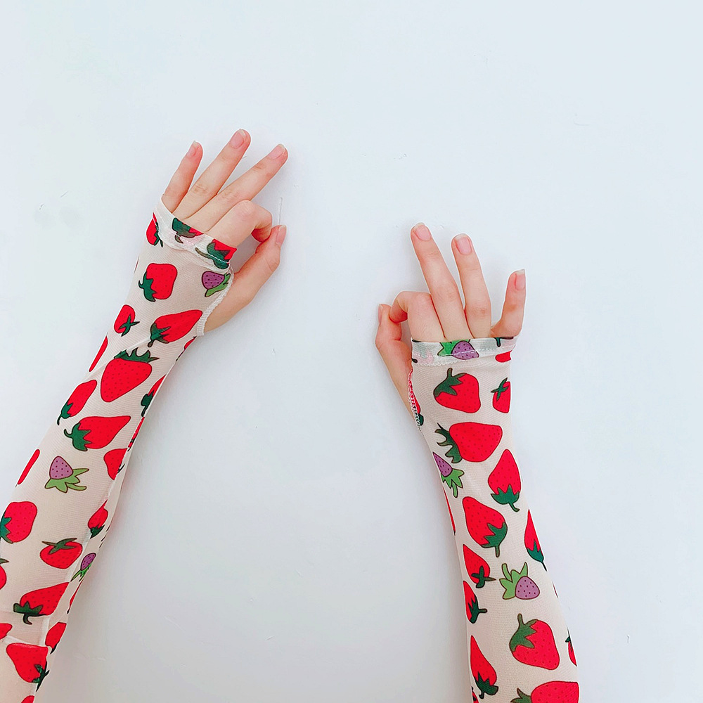 Fashion Protection Arm Warmer Print Long Fingerless Long Gloves Mesh Sleeves Breathable Sunscreen Cuff