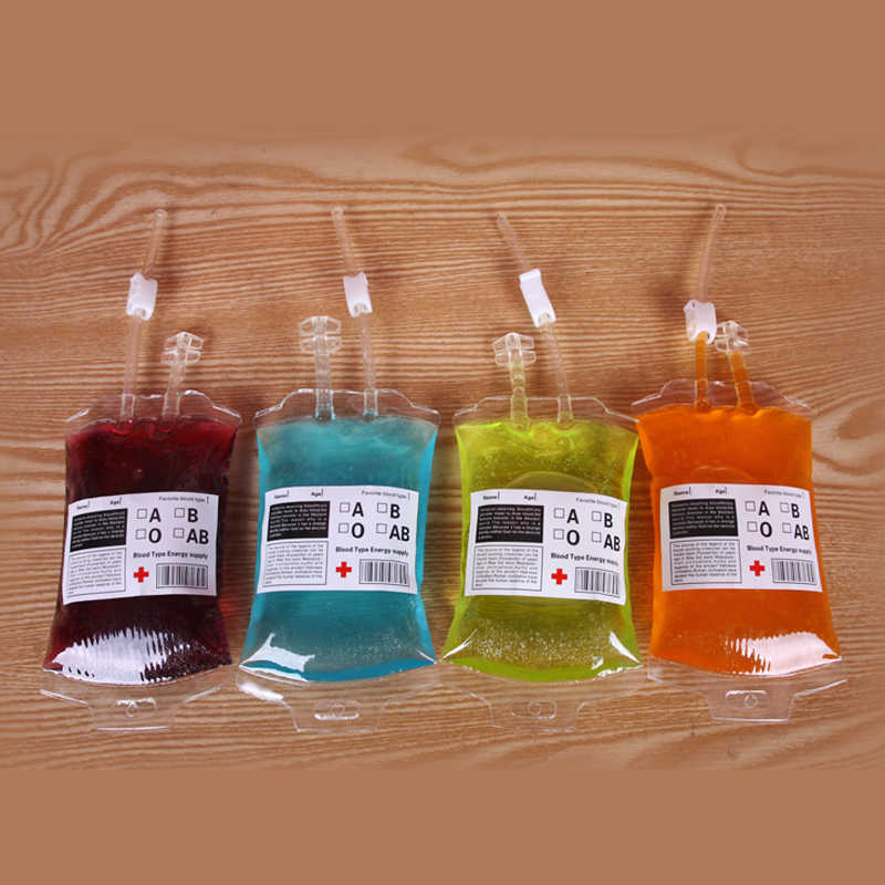 50pcs 380ml Halloween Prop Blood Drink Container, Drinking Bag, Fruit Juice Blood Drinking Pack, Beverage Bag, Free Funnel