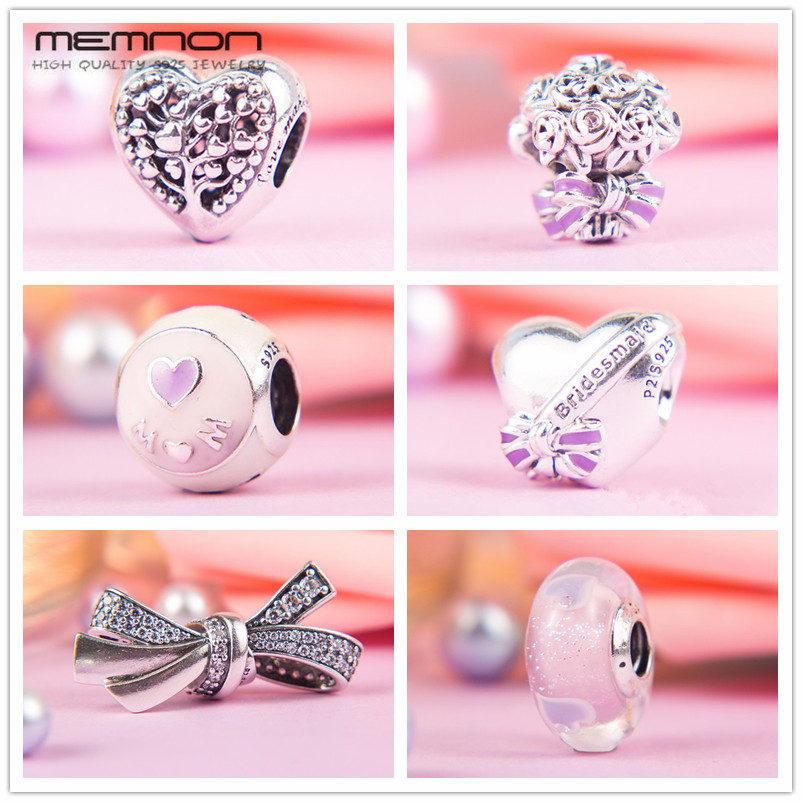 Memnon Mother's day collection love mom best bridesmaid charms 925 sterling silver hearts beads fit bracelets diy gift to mom купить в Москве 2019