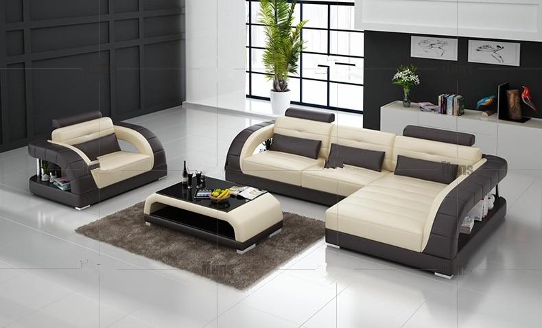 Modern Pojok Sofa Dengan L Bentuk Set Desain Untuk Ruang Tamu Tunggal