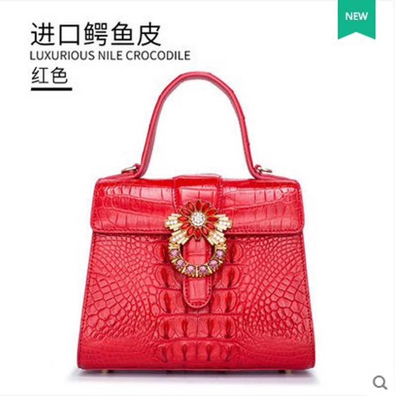 2018 gete new crocodile leather women bag one-shoulder bag Thai leather women handbag