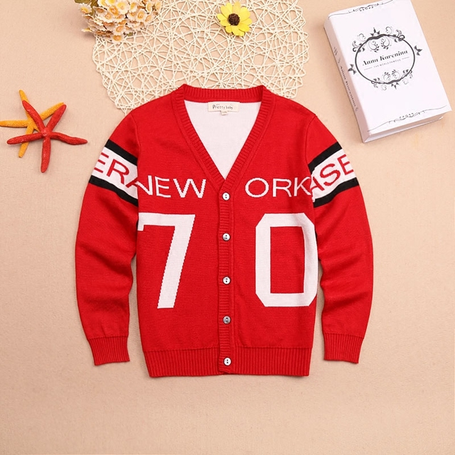 Cartoon Boys Cardigan 2016 Casual Kids single breasted  V-collar Jackets Children's Double Thicking Cotton Knit Sweaters