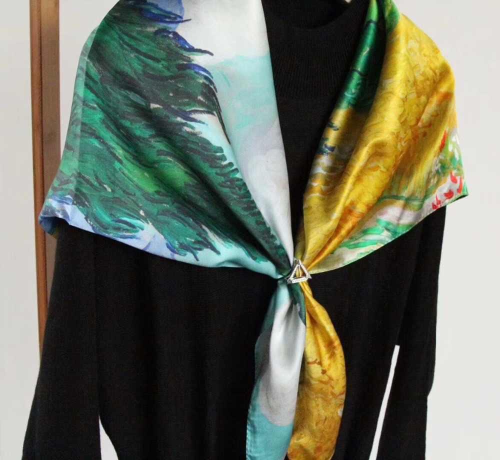 [SLKSCF] 90X90 см большой квадратный натуральный шелковый шарф 100% шелковый сатиновый шарф накидки женский платок Бесплатная доставка
