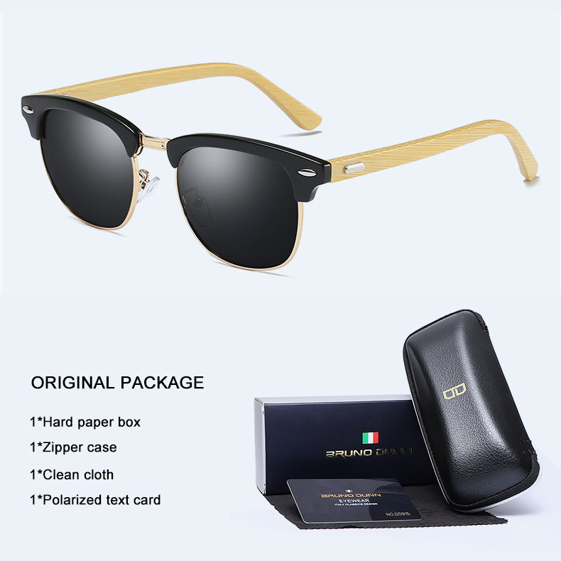 Bruno Dunn Half Metal Bamboo Sunglasses polarized for Men Women Brand Designer Mirror Sun Glasses male Gafas Oculos De Sol ray