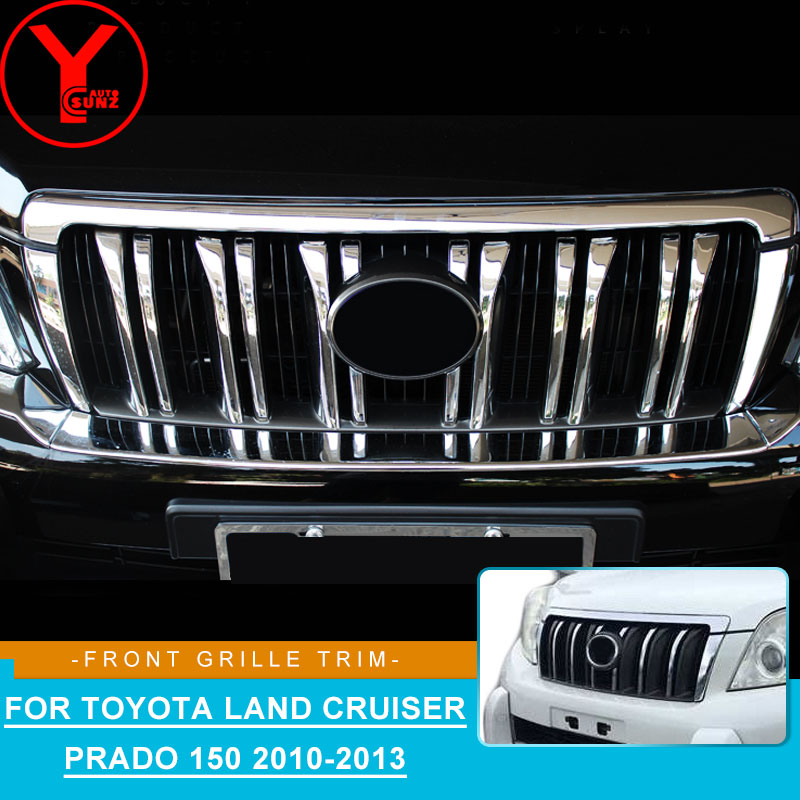 <font><b>2010</b></font>-2013 front grille cover For Toyota Land cruiser Prado <font><b>150</b></font> <font><b>2010</b></font> 2013 chrome abs for toyota prado <font><b>150</b></font> <font><b>2010</b></font> accessories YCSUNZ image