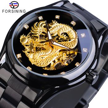 цена на Forsining Luxury 3D Engraved Golden Dragon Automatic Mechanical Men Watches Stainless Steel Band Sports Self-winding Wrist Watch